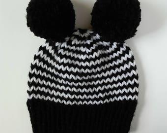 double pom hat, striped double pom beanie, zebra hat, double pom zebra hat, black and white beanie, striped beanie, halloween costume hat