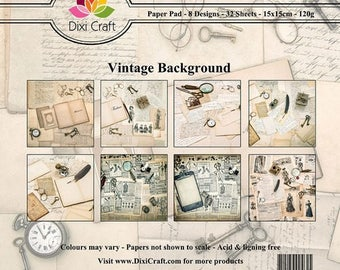 32 two pockets 15 x 15 cm Dixi Craft VINTAGE Brown BACKGROUND paper