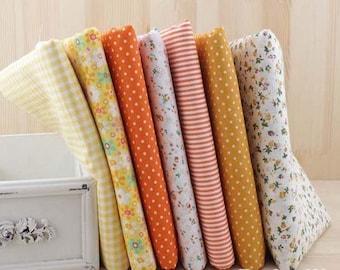 Set of 7 coupons fabric Quilt/sewing 50 x 50 cm tones ORANGE yellow