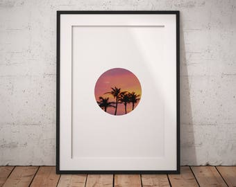 Palm tree art, aruba palm photo, palm tree print, circle wall art, plam trees wall print, sunset art, circle print, sunset print, printable