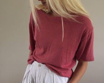 90s Vintage Carnation Pink 100% Raw Silk Tee T-Shirt