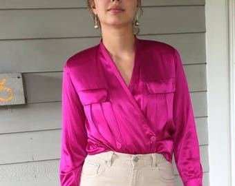 Vintage 90s Magenta 100% Silk Charmeuse Pleated & Double Breasted Wrap Blouse | XS 0/2