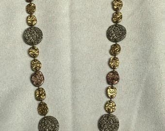 Anne Dick vintage mixed metal hammered necklace