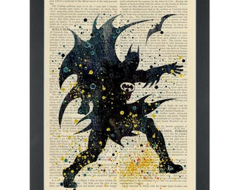 Batman super hero watercolor Dictionary Art Print