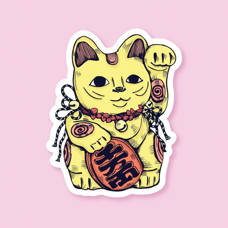 Description maneki neko vinyl sticker