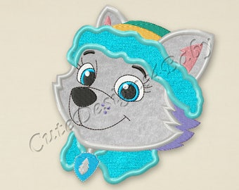 SALE! Paw Patrol Everest head applique embroidery design, Paw Patrol Machine Embroidery Designs, designs for baby, Instant download #059