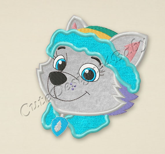 Sale paw patrol everest head applique embroidery design