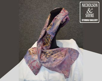 Blue and Lavender printed scarf