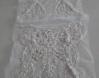 Lace Fabric/Hand Embroidered Bridal Heavy Beaded Crystal Lace Fabric
