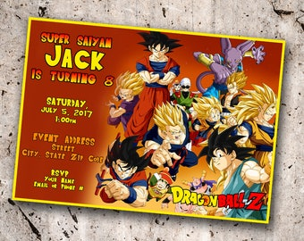 Dragonball Z Personalized Birthday Invitation