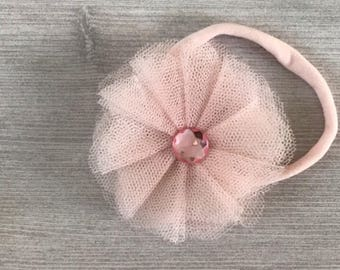 Princess pink flower bow - first birthday bow - tutu hairbow - first birthday pictures - birthday hair accessories