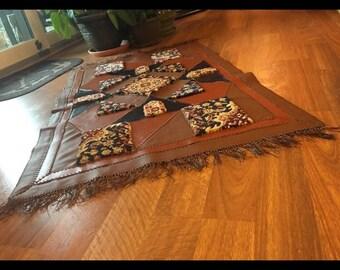 Brown Handmade Leather Rug