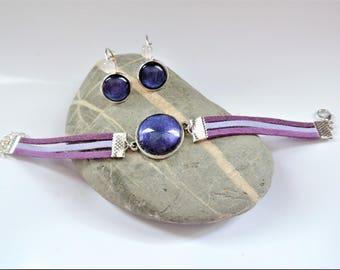 set cabochon ღ ღ bracelet glitter varnish purple cabochon set and earrings