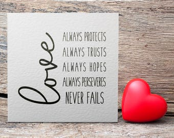 Love Greetings Card, Valentine's Day Card, Typography, Love, Always Protect, Always Trusts, Always Hopes, Always Perseveres, Never Fails