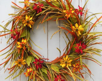 Fall Wreath,Fall Door Wreath, Thanksgiving Wreath, Autumn Wreath,Autumn Door Wreath, Summer Door Wreath, Indian Summer Wreath,Harvest Wreath