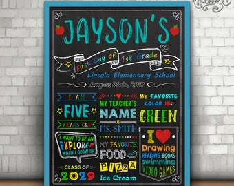 First Day of School Sign, First Day of Kindergarten, First Day of School Chalkboard Sign, First Day of School Printable Sign, Preschool