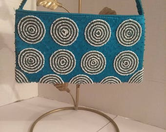 Blue Beaded Purse, Indonesia Handbag, Handmade Purse, Fashion Accessory, Boutique