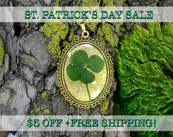 "SALE! Genuine 4 Leaf Clover Cameo Necklace [BC 011] /Gold Tone 18"" Necklace / White Clover Pendant / Triforium Repens / Good Luck Charm"