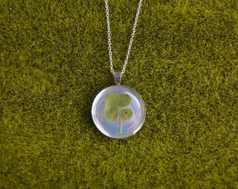 Dainty Genuine 4 Leaf Clover Necklace [SS 028] / Nickel, Cadmium, Lead Free; Silver Plated / White Clover Pendant /Triforium Repens