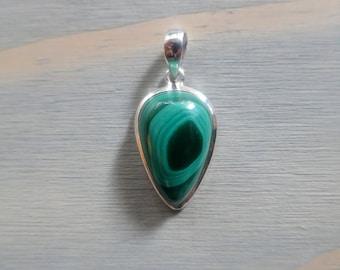 Small Inverted teardrop Green Malachite pendant in Sterling Silver