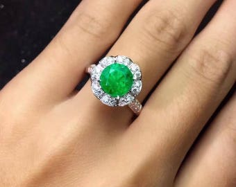 Emerald Ring Eye Clean Colombian Emerald Certified Emerald AAA+ Faceted Round 7.6 MM Size Diamonds 18K White Gold Ring Jewelry