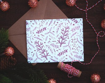 Forest Floor Holiday Card Mauve | Christmas Greeting Card | Hand-drawn | Cards by bex | Holiday Stationery | Winter card | Simple card