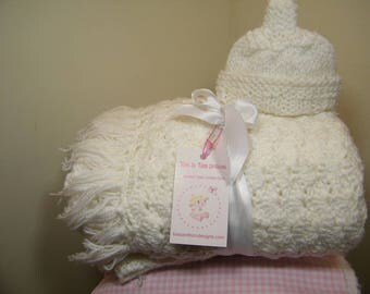 knit/ crochet baby blanket with fringe/white Promotion!!!  Free baby hat with the purchase of a baby blanket  NEW ITEM !!!