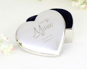 Personalised gift, mothers day gift, trinket pot, personalised gift for her, engraved gift, heart shaped trinket, personalised gift for mum