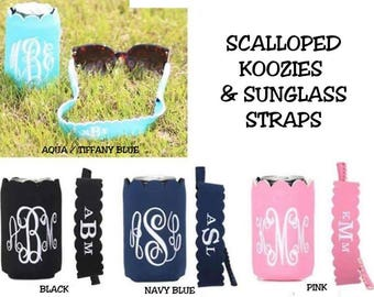 Scalloped monogram Can Cooler and Sunglasses Straps
