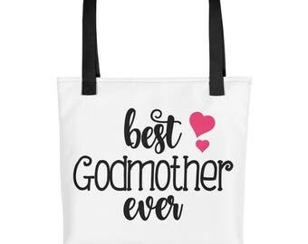 Best Godmother Ever Tote Bag - Godmother Gift - Best Godmother Ever Gift - Godmother Purse - Godmother Bag - Goddaughter - Baby Shower Gift