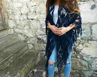 Triangle shawl, Triangle wrap, Navy blue shawl, Navy blue wrap, Boho shawl scarf, Boho scarf, Boho wrap, Crochet scarf fringe, Crochet shawl