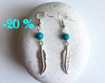 SUMMER SALE / / / boho Feather silver and turquoise earrings