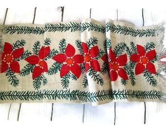 Vintage Swedish Table Runner Christmas Runner Scandinavian 70s Red Poinsettias  Design Handprinted  Scandinavian Modern