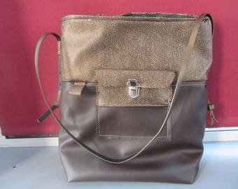 FAUX LEATHER SATCHEL HANDBAG