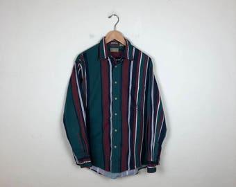 90s Striped Button Up Size Medium, Vintage Men's Button Up Medium