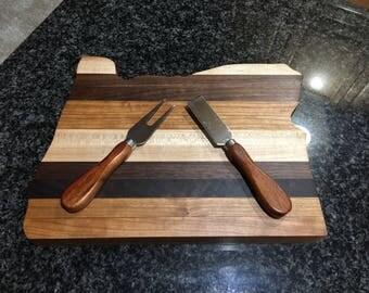 Handmade Maple, Cherry, and Walnut Oregon shaped cutting board. Hardwood cutting board, chopping board, cheese board, State of Oregon