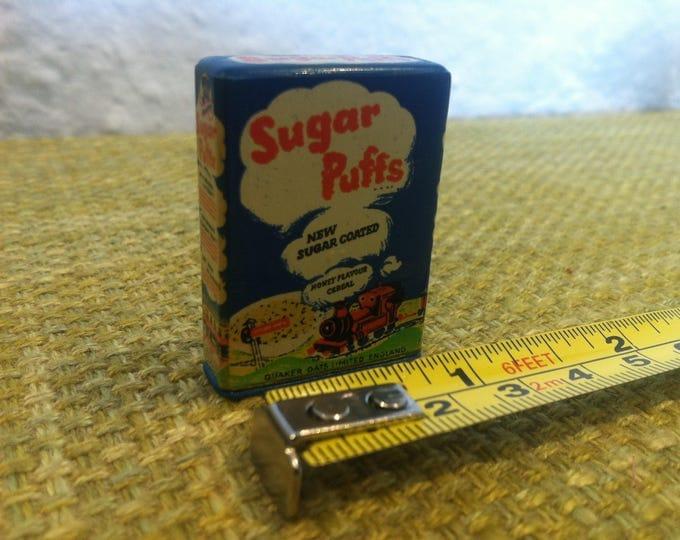 Vintage Dollhouse Accessoires Sugar Puffs Quaker oats Limited England Tin Toy Deco