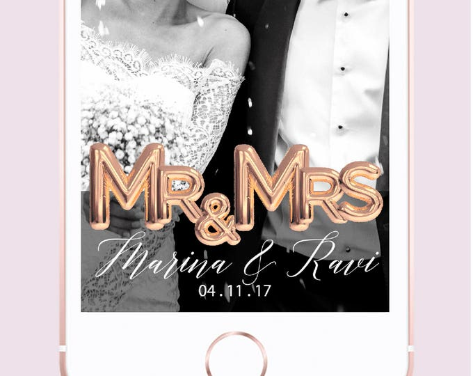 Featured listing image: Rose Gold Love Balloon Custom Wedding Snapchat Geofilter