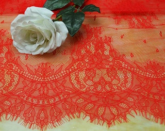 Red French Eyelash Lace Fabric Lace Trim 59.05 Inches Wide 1.03 Yards/ Craft Supplies, WL1459