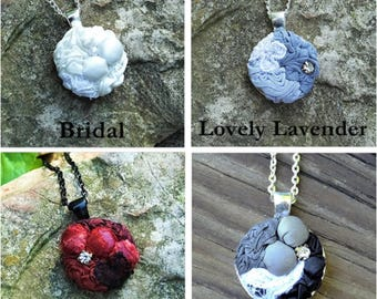 """Your Choice! 1"""" Round Textile Bezel Pendant Necklace of Manipulated Fabric Embellished with Lace and/or Rhinestone with 20"""" Matinee Chain"""