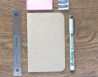 Bulk Kraft Notebook | 3.5 x 5.5 | Pocket Notebook | Notebook | Sketchbook | Journal | Kraft Journal | Bulk Journal | Field Notes