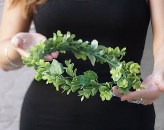 Flower crown wedding, greenery crown, bridal flower crown, green flower crown, greenery headpiece