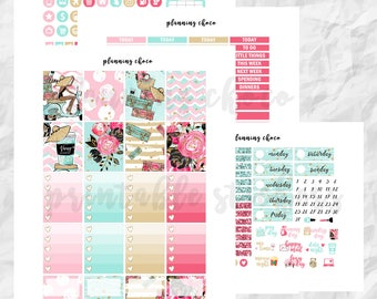 Summer riding printable planner stickers /EC vertical weekly kit / ECLP / pdf, jpg, cut files / glitter