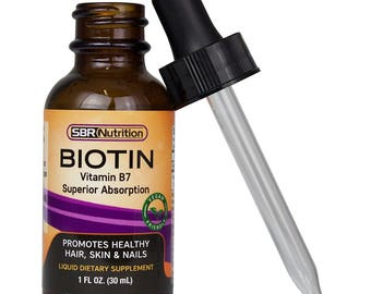 MAX ABSORPTION Biotin Liquid Drops, 5000mcg of Biotin Per Serving, Supports Healthy Hair, Skin, and Nails, No Artificial Preservatives