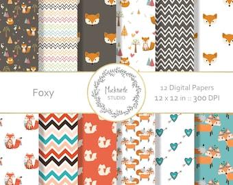 Fox digital paper - Woodland clipart - Scrapbook paper - Fox Digital Paper - Woodland Fox Digital Paper - Commercial use