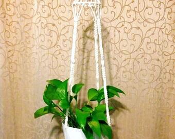 "Macrame Plant Hanger / 44"" Long / Cotton Rope Plant Holder"