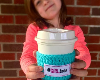 Girlboss Crochet Coffee Cozy To Go Cup Cozy To Go Cup Teal, Gift for Her, Coffee Lover #girlboss