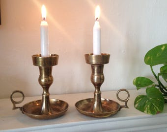 Solid Brass Candlestick Holders