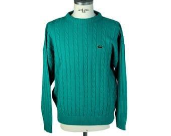 Lacoste light green wool sweater cardigan men' s size 50 1980s vintage
