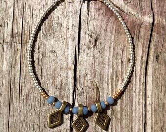 fragile Bohoarmband faceted pendant, charm bracelet, coins, Gypsy bracelet, pigeon blue, glass pearls, bohemian, boho, gypsy